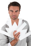 Man holding a WWW sign Stock Image