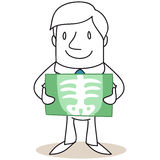Man holding xray image in front of himself. Vector illustration of a monochrome cartoon character: Man holding xray image in front of himself Royalty Free Stock Photography