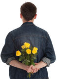 Man holding yellow roses Royalty Free Stock Photography
