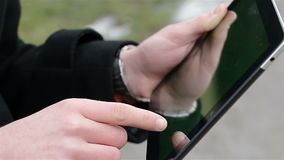 A man holds a blank tablet stock video footage