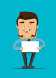 Man holds a blank white peace of paper  illustration icon Stock Photo