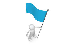 Man holds blue flag on flagpole Royalty Free Stock Images
