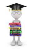 Man holds of books. Man holds a stack of books on the study of business Stock Image