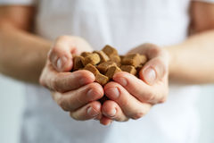 Man holds the brown sugar cubes Royalty Free Stock Photo