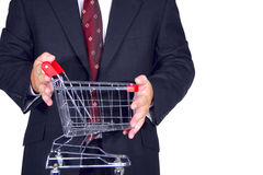 Man holds cart Royalty Free Stock Photo