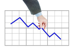 Man holds chart going downwards Royalty Free Stock Photo