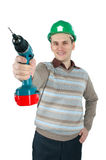 Man holds a drill in his hand Royalty Free Stock Images