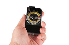 Man holds exposure meter Stock Photo