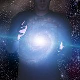 Man holds galaxy between his hands Stock Photography