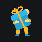 Man holds a gift box icon with bow. This is a vector illustration of Man holds a gift box icon with bow Stock Photo