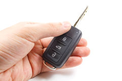 Man holds in hands opened ignition key Stock Photography