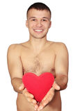 Man holds  heart Royalty Free Stock Photo