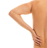 Man holds his back due to pain Royalty Free Stock Photos