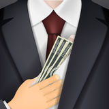 Man holds in his hand an envelope with money. Bribery and corrup Stock Photo