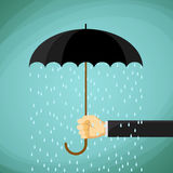 Man holds in his hand an umbrella. Stock Vector cartoon illustra Royalty Free Stock Photos