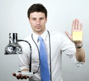 Man holds Lamp Stock Photo