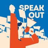 Man holds a loudspeaker in hand. Demonstration with banners flat llustration. Man holds a loudspeaker in hand. Protester speaking through megaphone Stock Image