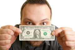 Man holds one dollar bill Royalty Free Stock Photos