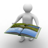 Man holds open book on white background. Isolated 3D image Stock Photos