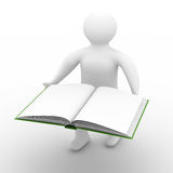 Man holds open book on white background. Isolated 3D image Stock Images