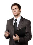 Man holds paper folder and pen Royalty Free Stock Image