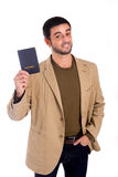 Man holds passport Stock Photos