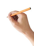 Man holds a pen. A man holds a pen, isolated on white background Stock Photography