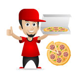 Man holds pizza and showing thumbs up Stock Photo