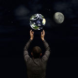 Man holds the planet Royalty Free Stock Photography