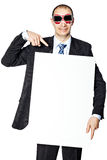Man holds the poster. Stock Images
