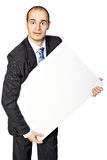 Man holds the poster. Stock Photos