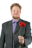 Man holds a rose Royalty Free Stock Photo