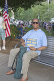 Man Holds Sign About Jobs At Moral Monday Rally Royalty Free Stock Photos