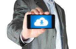 Man holds smart phone with cloud download concept Royalty Free Stock Image
