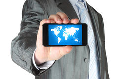 Man holds smart phone with map Royalty Free Stock Photo