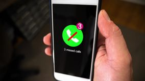 Closeup smartphone notification screen missed calls