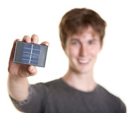 Man Holds Solar Panel Royalty Free Stock Photos