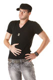 Man Holds Stomach Royalty Free Stock Photography