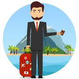 A man holds a suitcase for travel and a passport. Travel logo Royalty Free Stock Images