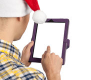 Man holds a tablet computer Royalty Free Stock Photos