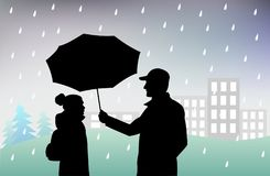 Man holds an umbrella over  girl, protecting her from  rain, bad rainy weather. _ Stock Photography