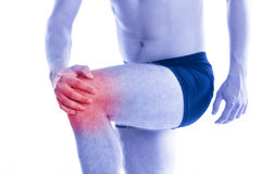 Man holds up for sore knee Stock Photography