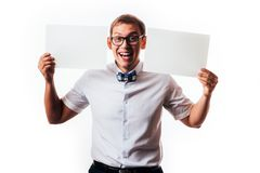 Man holds the white sign in a studio white background stock image