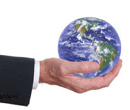 Man holds the world, the earth. Americas prominent. Royalty Free Stock Image