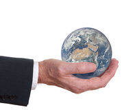 Man holds the world, the earth. Europe , Africa show, Stock Image