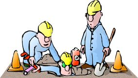 Man in the hole. This illustration that I created depicts three construction workers Stock Photos