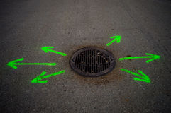 Man Hole Arrows Stock Images
