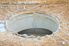 Man hole of drainpipe under construction Royalty Free Stock Image