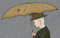 Man with Hole in Umbrella Royalty Free Stock Image