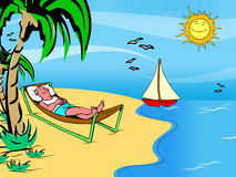 Man holiday on the beach. Man sprawl and lazing under the palm trees, holiday on the beach. cartoon illustration. ial image Royalty Free Stock Photography